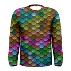 Fish Scales Pattern Background In Rainbow Colors Wallpaper Men s Long Sleeve Tee