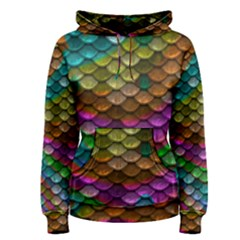 Fish Scales Pattern Background In Rainbow Colors Wallpaper Women s Pullover Hoodie