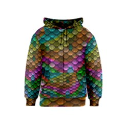 Fish Scales Pattern Background In Rainbow Colors Wallpaper Kids  Zipper Hoodie