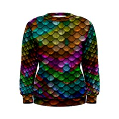 Fish Scales Pattern Background In Rainbow Colors Wallpaper Women s Sweatshirt
