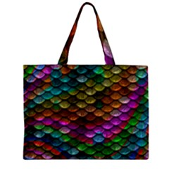 Fish Scales Pattern Background In Rainbow Colors Wallpaper Zipper Mini Tote Bag