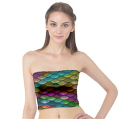 Fish Scales Pattern Background In Rainbow Colors Wallpaper Tube Top