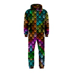 Fish Scales Pattern Background In Rainbow Colors Wallpaper Hooded Jumpsuit (Kids)