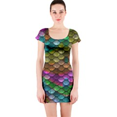Fish Scales Pattern Background In Rainbow Colors Wallpaper Short Sleeve Bodycon Dress