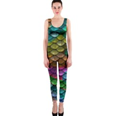 Fish Scales Pattern Background In Rainbow Colors Wallpaper OnePiece Catsuit