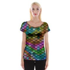 Fish Scales Pattern Background In Rainbow Colors Wallpaper Women s Cap Sleeve Top