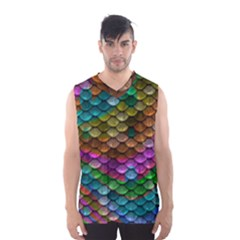 Fish Scales Pattern Background In Rainbow Colors Wallpaper Men s Basketball Tank Top