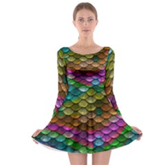 Fish Scales Pattern Background In Rainbow Colors Wallpaper Long Sleeve Skater Dress