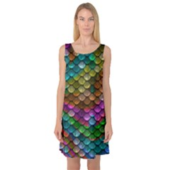 Fish Scales Pattern Background In Rainbow Colors Wallpaper Sleeveless Satin Nightdress