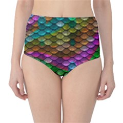 Fish Scales Pattern Background In Rainbow Colors Wallpaper High Waist Bikini Bottoms