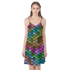 Fish Scales Pattern Background In Rainbow Colors Wallpaper Camis Nightgown
