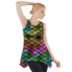 Fish Scales Pattern Background In Rainbow Colors Wallpaper Side Drop Tank Tunic
