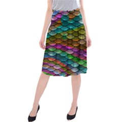 Fish Scales Pattern Background In Rainbow Colors Wallpaper Midi Beach Skirt