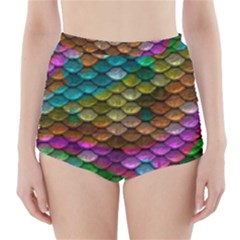 Fish Scales Pattern Background In Rainbow Colors Wallpaper High-Waisted Bikini Bottoms