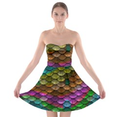 Fish Scales Pattern Background In Rainbow Colors Wallpaper Strapless Bra Top Dress