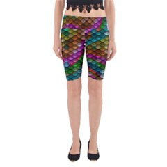 Fish Scales Pattern Background In Rainbow Colors Wallpaper Yoga Cropped Leggings
