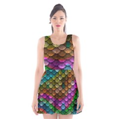 Fish Scales Pattern Background In Rainbow Colors Wallpaper Scoop Neck Skater Dress
