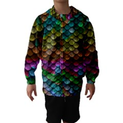 Fish Scales Pattern Background In Rainbow Colors Wallpaper Hooded Wind Breaker (Kids)