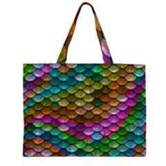Fish Scales Pattern Background In Rainbow Colors Wallpaper Large Tote Bag