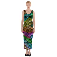 Fish Scales Pattern Background In Rainbow Colors Wallpaper Fitted Maxi Dress