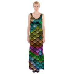 Fish Scales Pattern Background In Rainbow Colors Wallpaper Maxi Thigh Split Dress