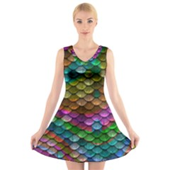 Fish Scales Pattern Background In Rainbow Colors Wallpaper V Neck Sleeveless Skater Dress