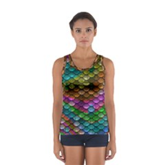 Fish Scales Pattern Background In Rainbow Colors Wallpaper Women s Sport Tank Top