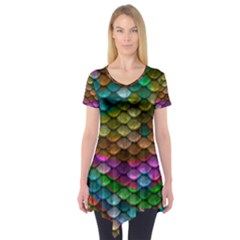 Fish Scales Pattern Background In Rainbow Colors Wallpaper Short Sleeve Tunic