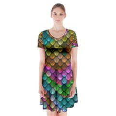 Fish Scales Pattern Background In Rainbow Colors Wallpaper Short Sleeve V-neck Flare Dress