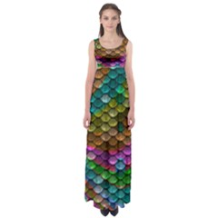 Fish Scales Pattern Background In Rainbow Colors Wallpaper Empire Waist Maxi Dress