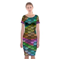 Fish Scales Pattern Background In Rainbow Colors Wallpaper Classic Short Sleeve Midi Dress