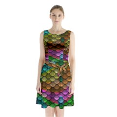 Fish Scales Pattern Background In Rainbow Colors Wallpaper Sleeveless Chiffon Waist Tie Dress