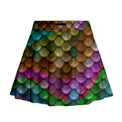 Fish Scales Pattern Background In Rainbow Colors Wallpaper Mini Flare Skirt