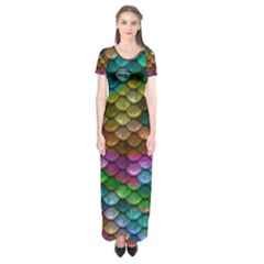 Fish Scales Pattern Background In Rainbow Colors Wallpaper Short Sleeve Maxi Dress