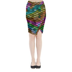 Fish Scales Pattern Background In Rainbow Colors Wallpaper Midi Wrap Pencil Skirt