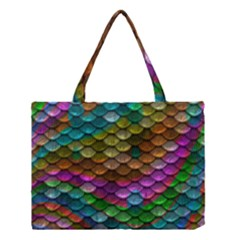 Fish Scales Pattern Background In Rainbow Colors Wallpaper Medium Tote Bag