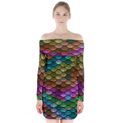 Fish Scales Pattern Background In Rainbow Colors Wallpaper Long Sleeve Off Shoulder Dress