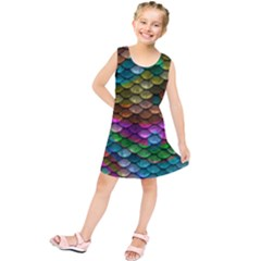 Fish Scales Pattern Background In Rainbow Colors Wallpaper Kids  Tunic Dress