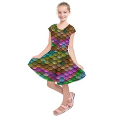Fish Scales Pattern Background In Rainbow Colors Wallpaper Kids  Short Sleeve Dress