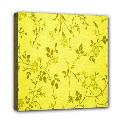 Flowery Yellow Fabric Mini Canvas 8  X 8