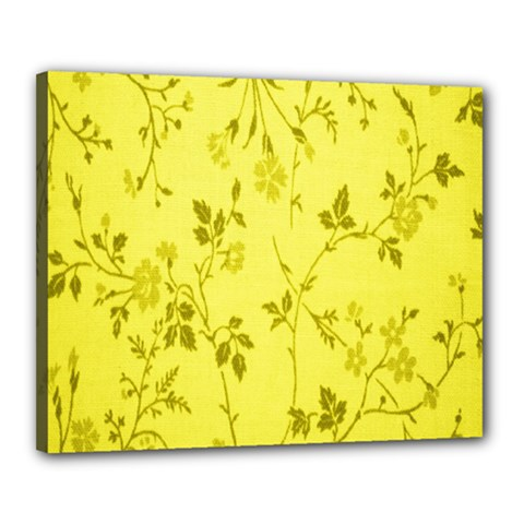 Flowery Yellow Fabric Canvas 20  X 16