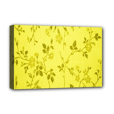 Flowery Yellow Fabric Deluxe Canvas 18  x 12