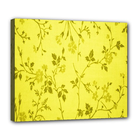 Flowery Yellow Fabric Deluxe Canvas 24  x 20