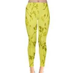 Flowery Yellow Fabric Leggings