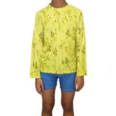 Flowery Yellow Fabric Kids  Long Sleeve Swimwear