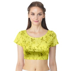 Flowery Yellow Fabric Short Sleeve Crop Top (tight Fit)