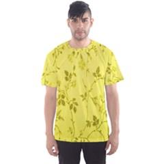Flowery Yellow Fabric Men s Sport Mesh Tee