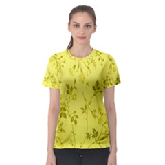 Flowery Yellow Fabric Women s Sport Mesh Tee