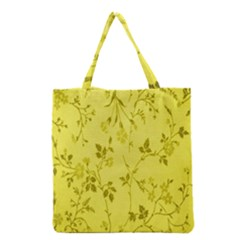 Flowery Yellow Fabric Grocery Tote Bag