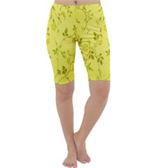 Flowery Yellow Fabric Cropped Leggings